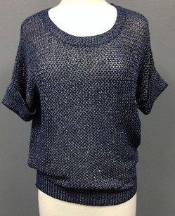 Chico's White Woven Acrylic Blend Open Knit Short Sleeve 0 1028 A Sweater