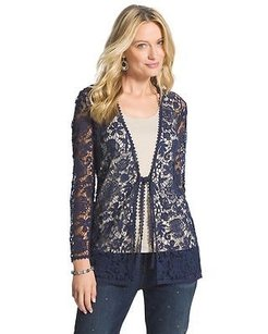 Chico's Chicos Crocheted Navy Blue Jacket