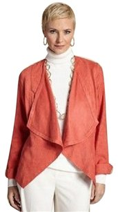 Chico's Faux Suede Ultra Suede Draped Top Coral
