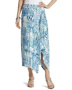 Chico's Chicos Ikat Molly Midi Skirt Blue Multi