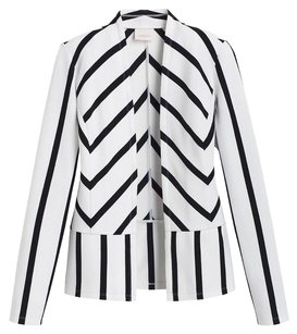 Chico's Striped Nwt Peplum Black and White Blazer