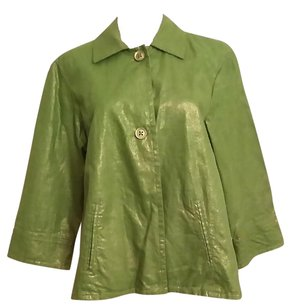 Chico's Swing Pleated Peridot Lame Jacket