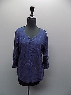 Chico's Chicos Embroidered Long Top Blue