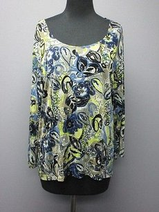 Chico's Travelers Blue Green Long Sleeve Scoop Neck Pattern Sm216 Top Blue/Green/Gray