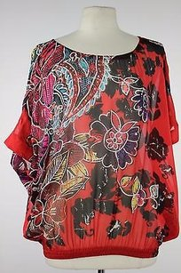 Chico's Chicos Womens Red Floral Top Multi-Color