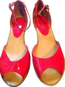 Chinese Laundry Patent Ankle Strap Wedge Red Sandals