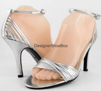 Chinese Laundry Strappy Shimmer Silver Pumps