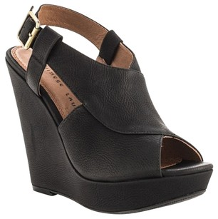 Chinese Laundry Wedge Open Toe Faux Leather Black Wedges