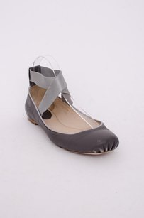 Chloé Chloe Leather Square Toe Elastic Crisscross Ankle Strap Ballerina 737 Gray Flats