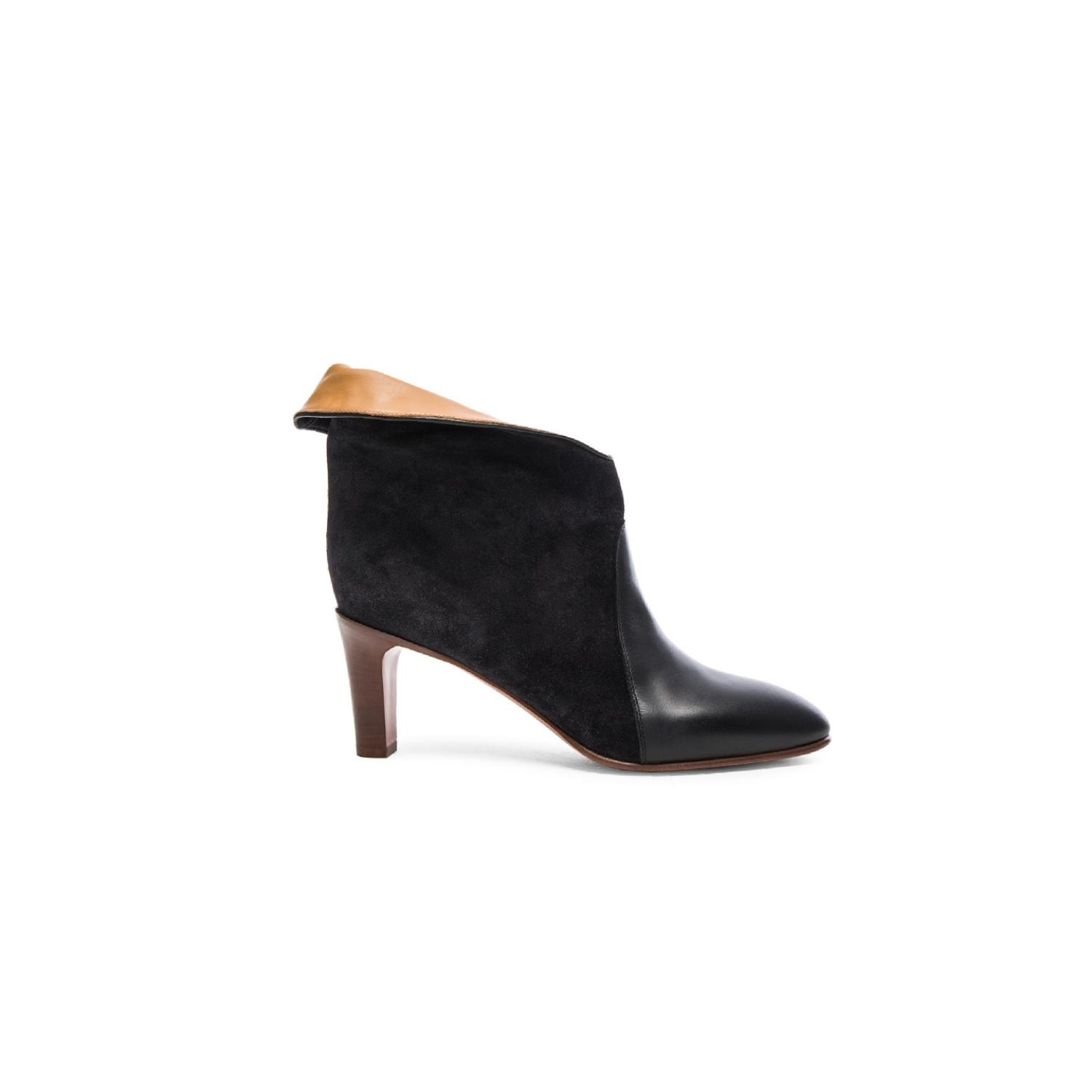 45283afd0f47a Chloé Black Fold-over Bicolor Ankle Boots/Booties Size EU 36 (Approx ...