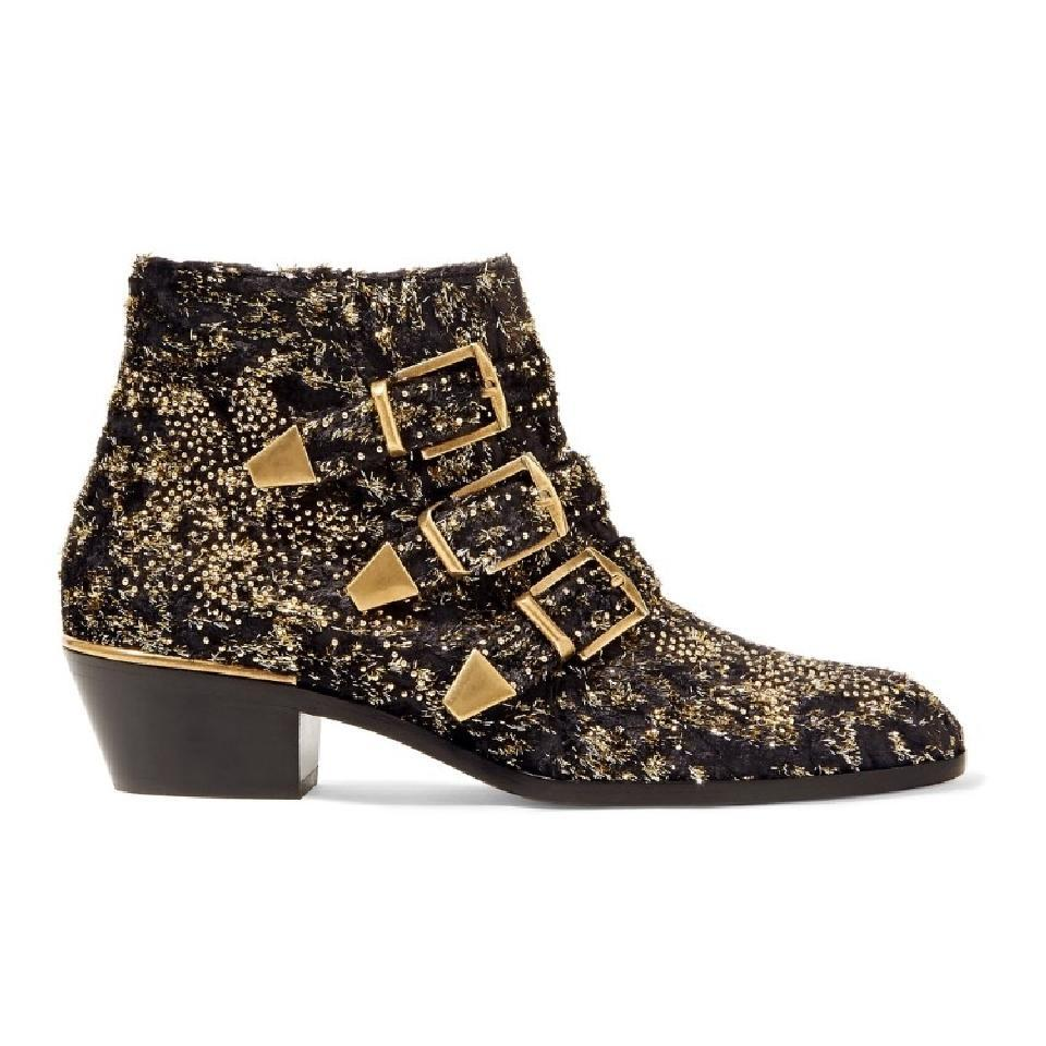 Chloé Black Suzanna Gold Velvet Coupe Studded Short Ankle Heel Boots/Booties Size EU 38 (Approx. US 8) Regular (M, B)