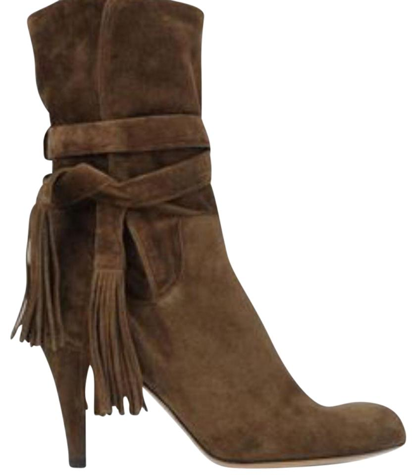 Chloé Brown Tassel-trimmed Suede Ankle Boots/Booties Size EU 40.5 (Approx. US 10.5) Regular (M, B)
