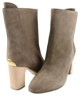Chloé Chloe Ch21085 Suede Womens Designer Ankle 6 Eur 36.5 Taupe/ Natural Boots