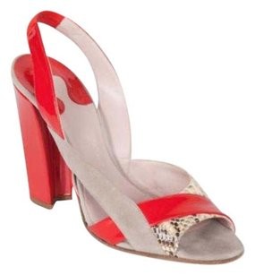 Chloé Chloe Womens Patent Leathersnakeskin Slingback Red Pumps