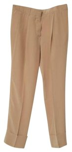 Chloé Chloe Womens Tan Silk Lightweight Cuffed Trousers Dress 342 Pants