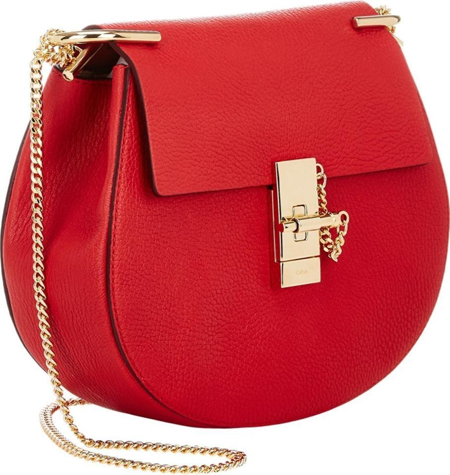 Chloé Drew Small Chain Red Leather Cross Body Bag