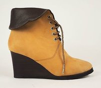 Chloé Chloe Mustard Tan Nubuck Leather Ankle Wedge Heel Beige Boots