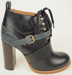 Chloé Chloe Gray Leather Lace Black Boots
