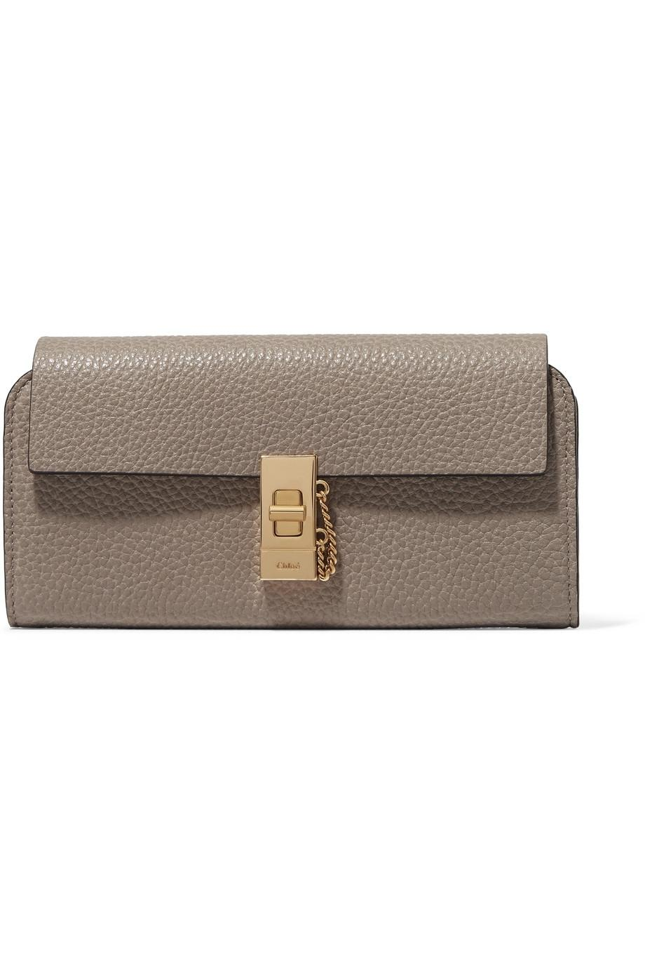 Sale Low Cost Outlet Sast Drew Textured-leather Wallet - Gray Chloé Comfortable Online Cost Cheap Sale New wn0ih8