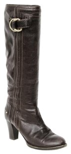 Chloé Chloe Dark Leather Buckle Stitch Trim Stacked Heel Knee High 737 Brown Boots