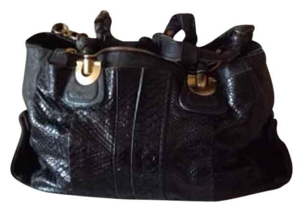 Chloe Python/Leather Handbag Black Satchel with Gold Hardwear
