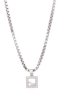 Chopard Chopard 18k White Gold Diamond Happy Square Pendant Necklace