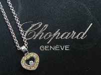 Chopard Chopard 18kt Heart Pendant W 1 Floating Diamonds Sapphire White Gold Necklace
