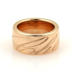 Chopard Chopard Chopardissimo 18k Rose Gold Engraved 11mm Wide Band Ring 7.75