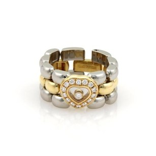 Chopard Chopard Happy Diamond 18k Gold Steel Heart Diamond Bezel Flex Band Ring