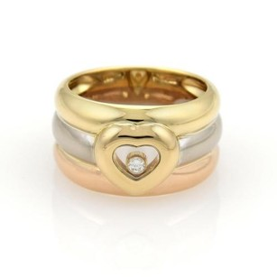 Chopard Chopard Happy Diamond 18k Tri-color Gold 12mm Wide Heart Band Ring