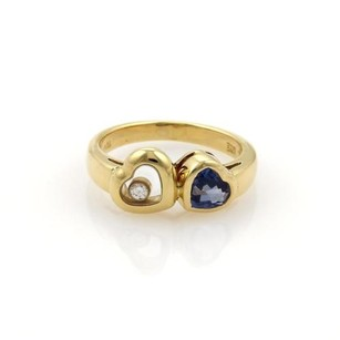 Chopard Chopard Happy Diamond 1ct Sapphire 18k Yellow Gold Double Heart Ring