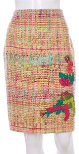 Christian Lacroix Tweed Multi Wool Polyester Viscose Embroidered Embellished Floral French Skirt PINK MULTI