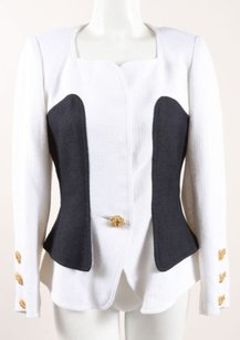 Christian Lacroix Vintage Christian Lacroix Black White Linen Gold Button Ls Blazer Jacket