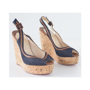 Christian Louboutin Denim Cork Slingback Wedges Leather Trim Blue Platforms