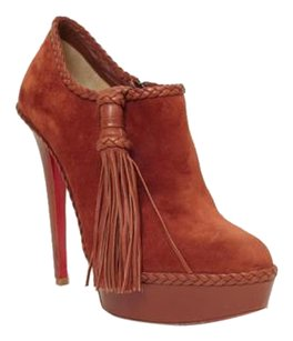 Christian Louboutin Sultane High Heel Braided Tassel Ankle Rust Boots