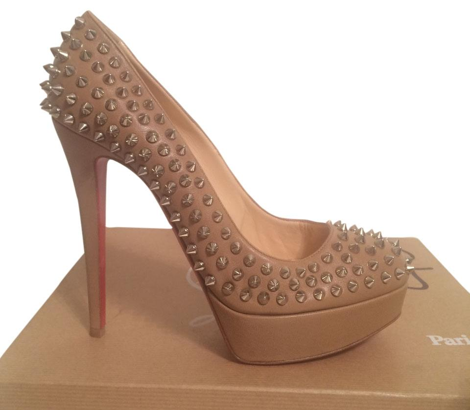 Christian Louboutin Beige Bianca Leather Spiked Eu 39.5 Pumps Size US 9