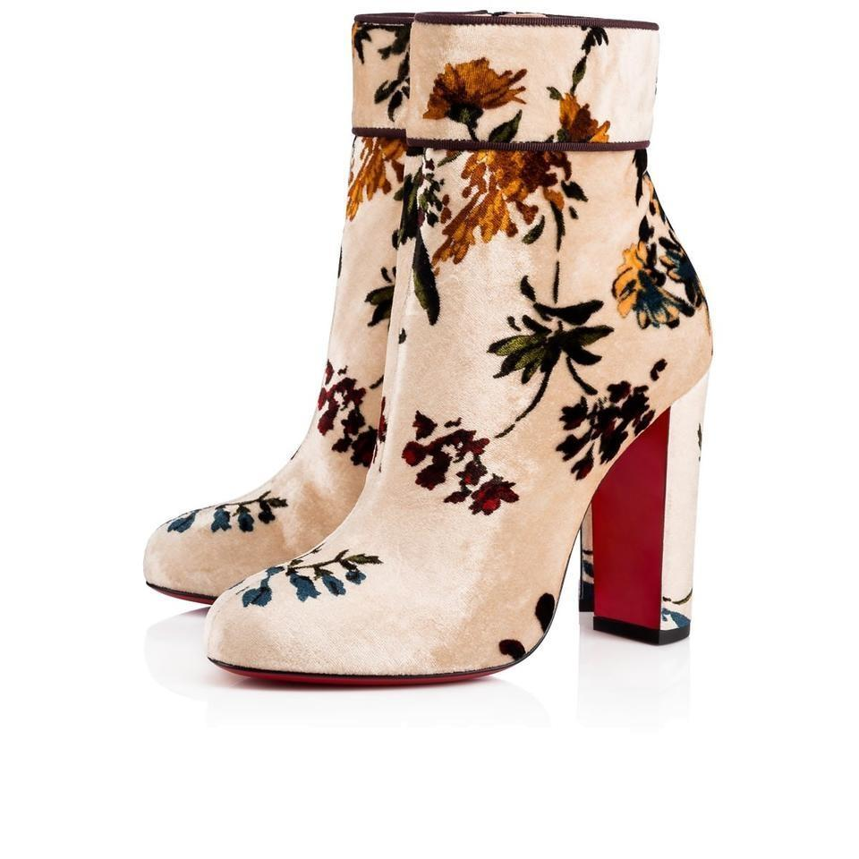 0cd3260813b Christian Louboutin Beige Floral Floral Floral Classic Moulamax 85mm  Bouquet Velvet Leather Ankle Boots Booties