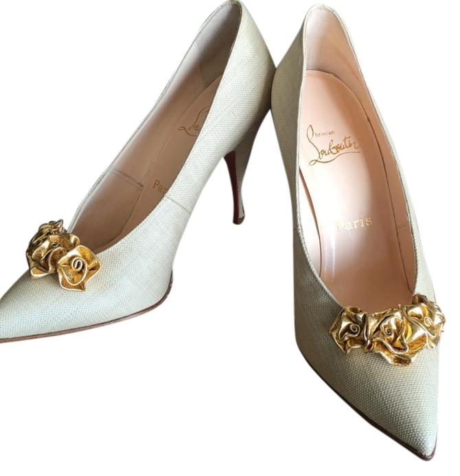 Christian Louboutin Beige / Gold Lola Linen Canvas with Leather Flowers Pumps Size US 8.5 Regular (M, B)