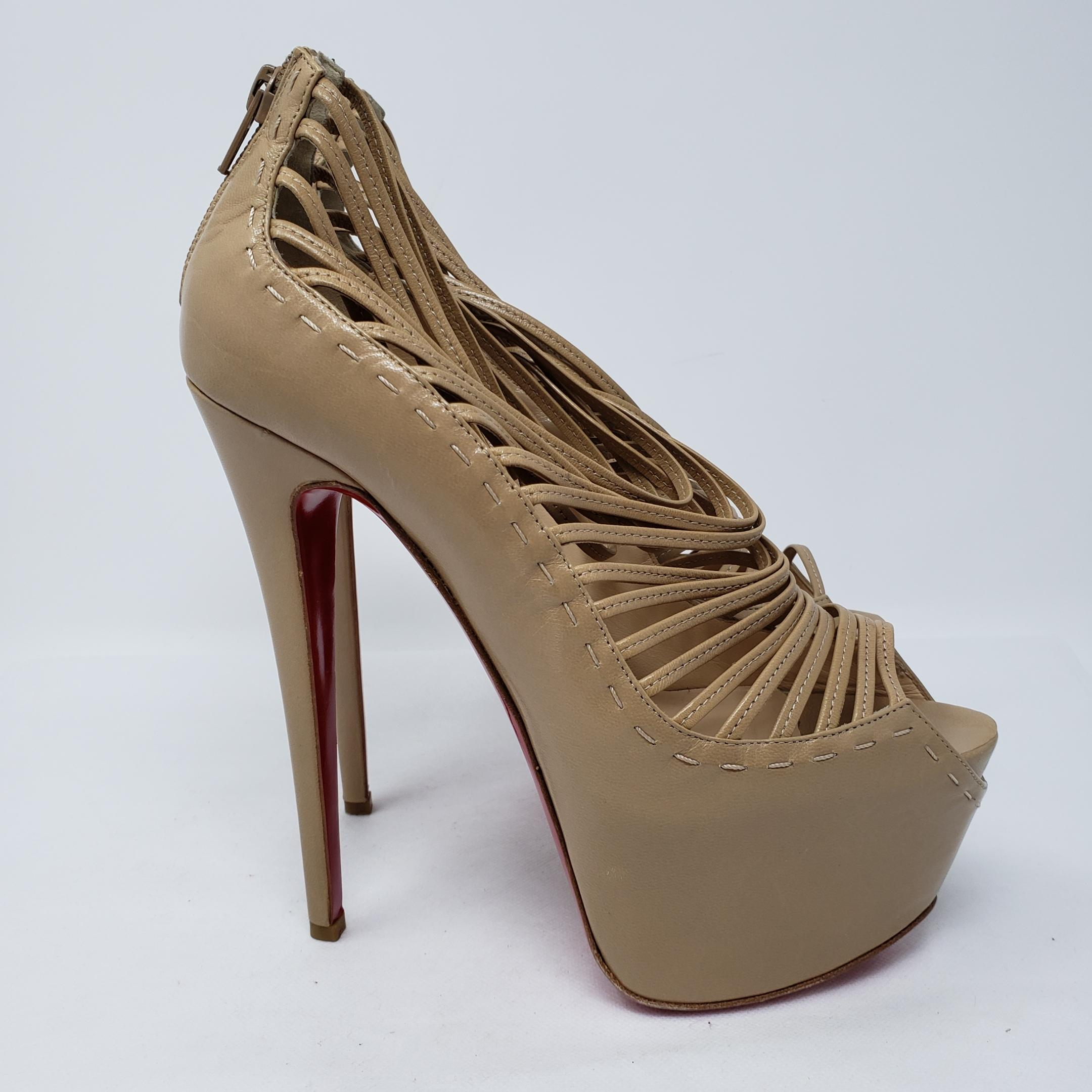 b8d3f29da96 50% off christian louboutin cage platform peep toe ankle zoulou beige boots  0b7e4 a270a
