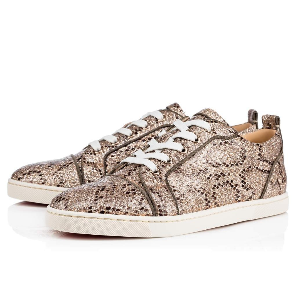 Christian Louboutin Beige/Light Gold Gondoliere Orlato Glitter Snake Print Low Top Sneakers Trainers Sneakers Size EU 38 (Approx. US 8) Regular (M, B)
