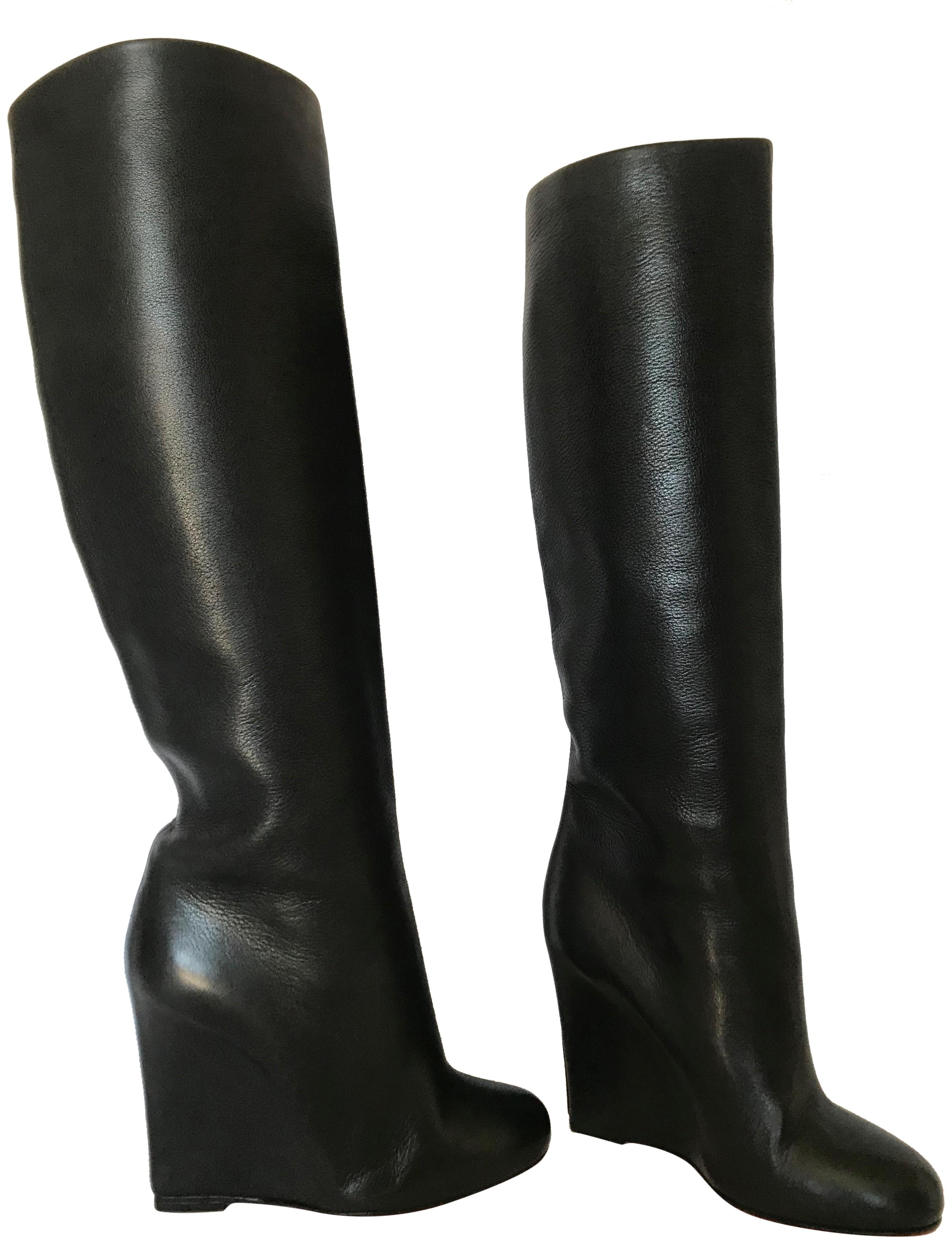 6475743c6184 ... Christian Louboutin Black 37.5it Knee High Lady Red Sole Ankle Alti Toe  100 Wedge Heel Boots Booties Size EU 37.5 (Approx. US 7.5) Regular (M
