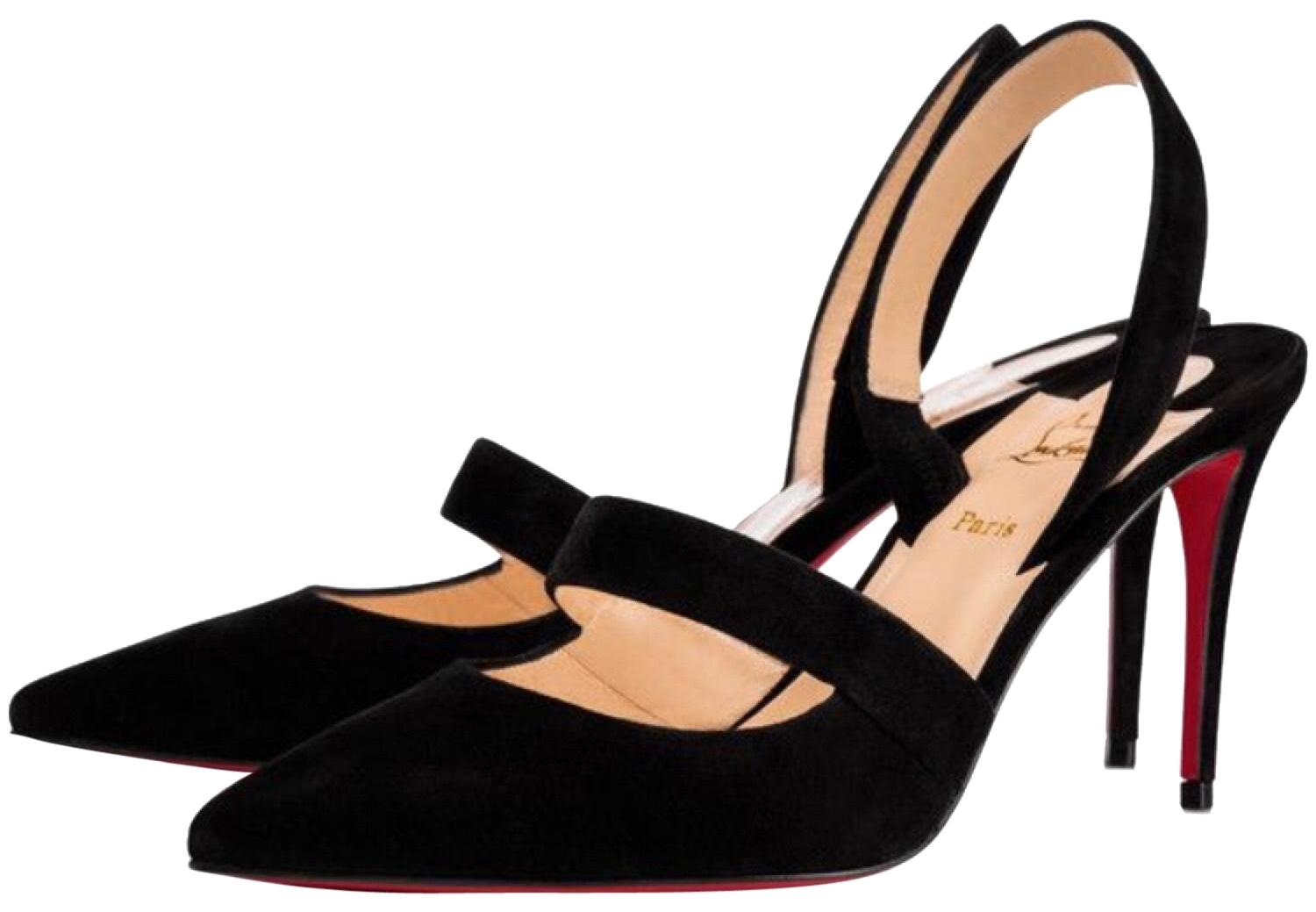 Christian Louboutin Black Actina 85mm Suede Sling Pumps Size EU 39.5 (Approx. US 9.5) Regular (M, B)