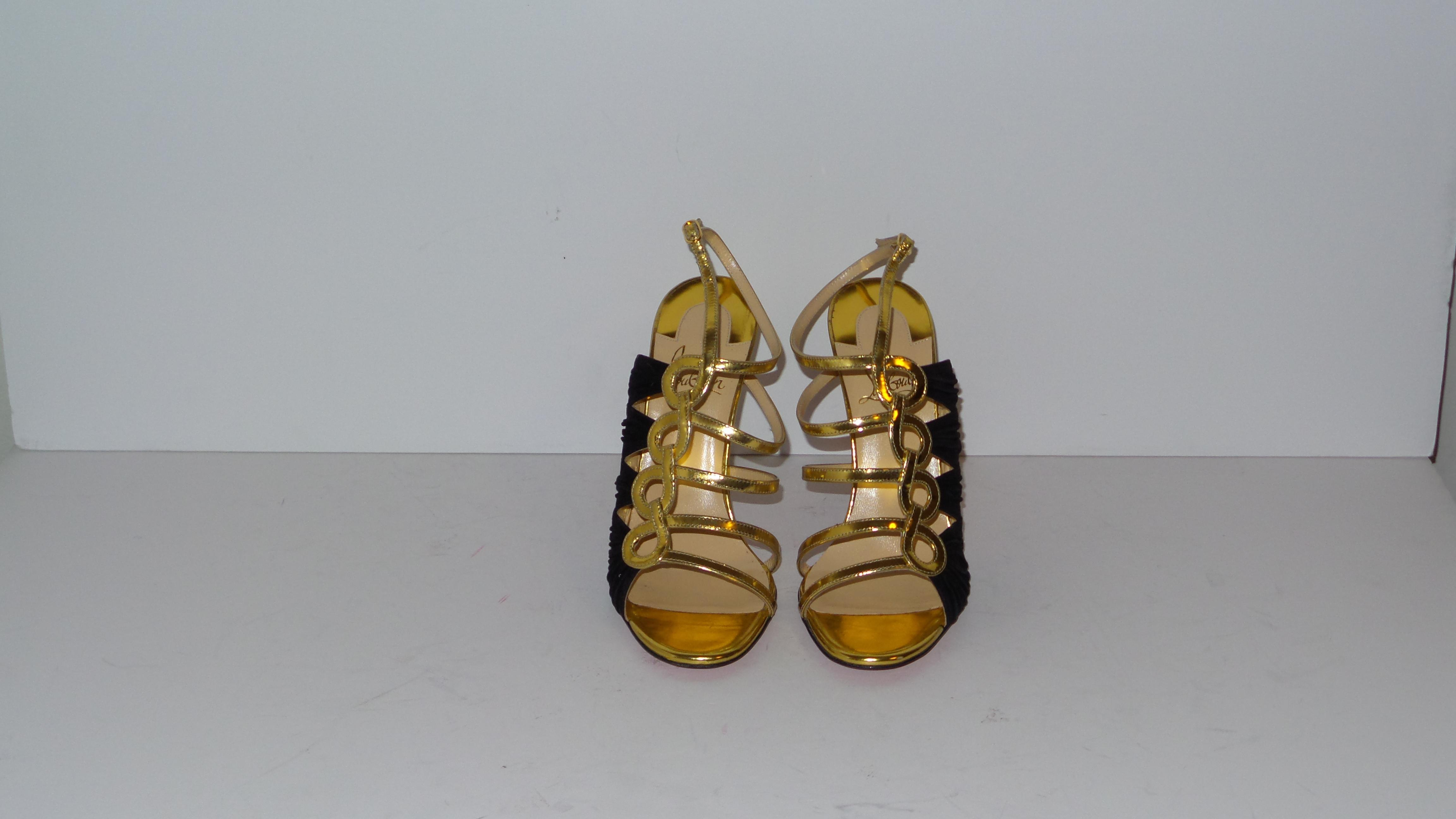 5544c02e209 ... Christian Louboutin Black and Gold Tina Cage Cage Cage 100 Pumps Heels  Sandals Size US 7 ...