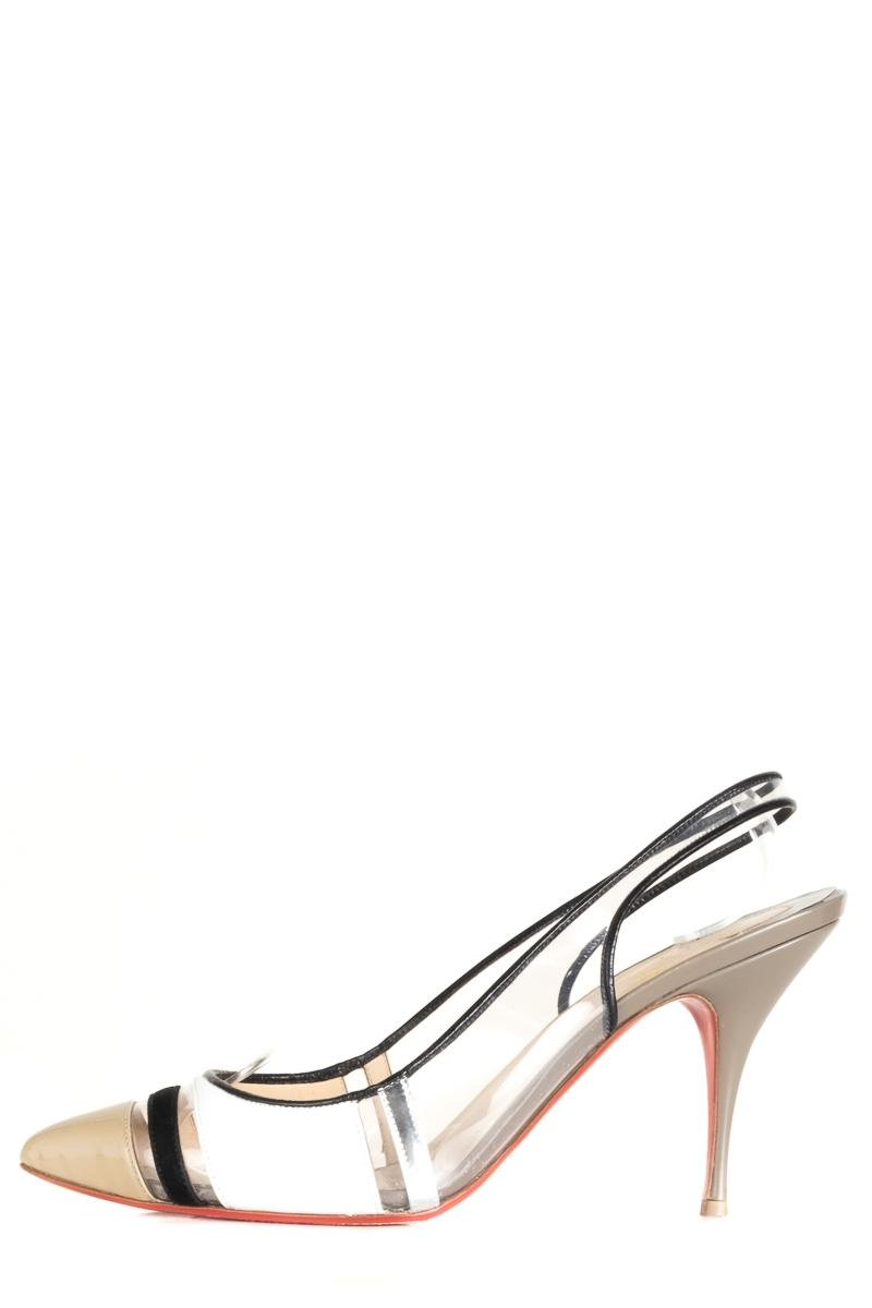new concept a4193 007d2 Christian Christian Christian Louboutin Black and White Pvc ...