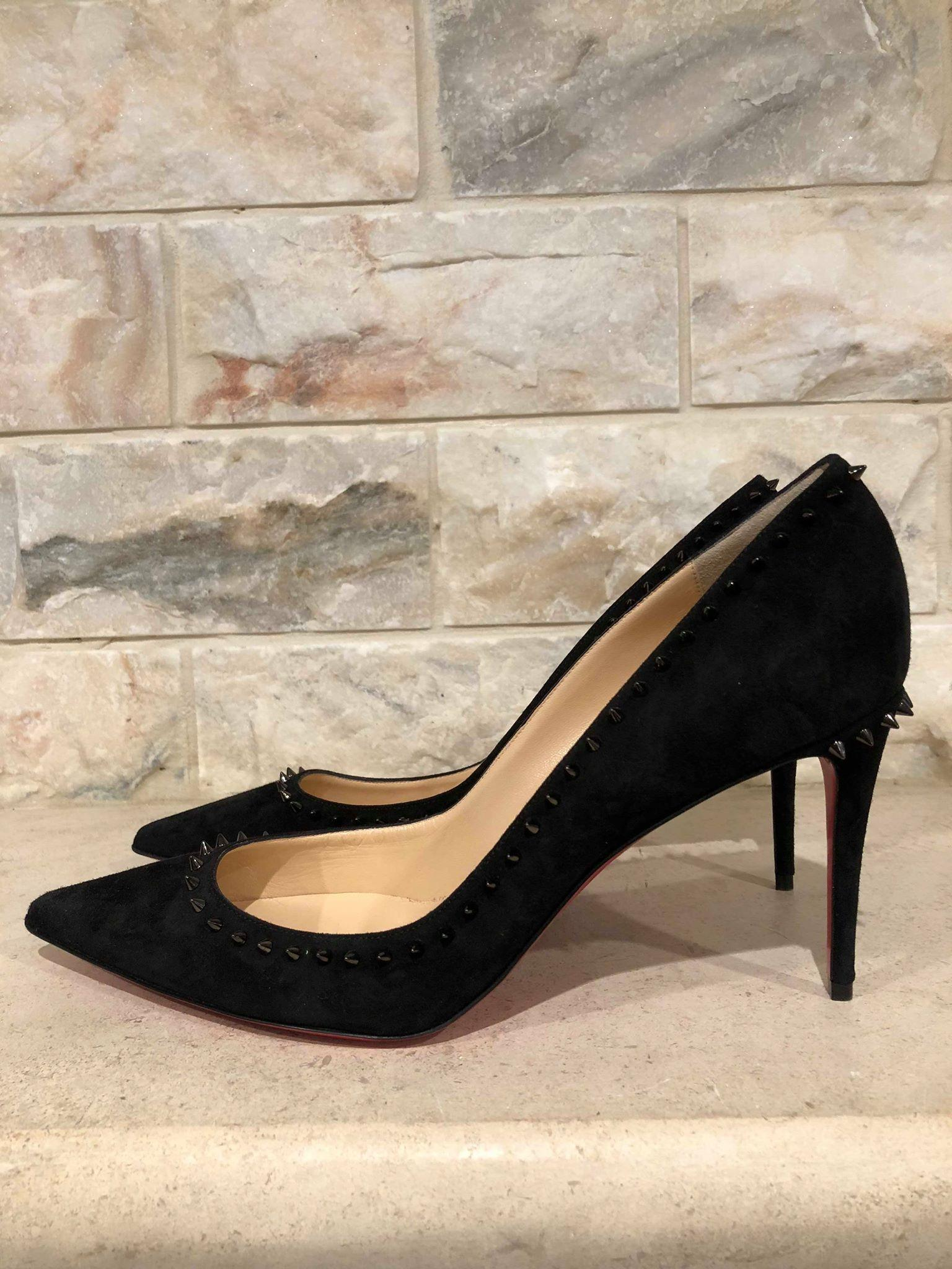 big sale 54445 6d8d5 Christian Louboutin Black Anjalina 85 Suede Spike Pointed ...