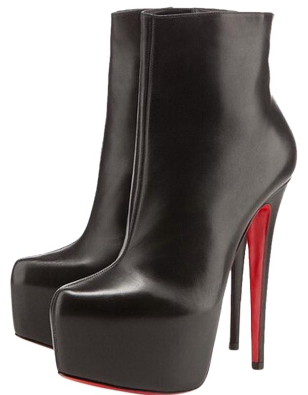 Christian Louboutin Black Ankle New 35.5 It Daffodile Leather Platform High Heel Lady Red Sole Toe Daf Boots/Booties Size US 5.5 Regular (M, B)