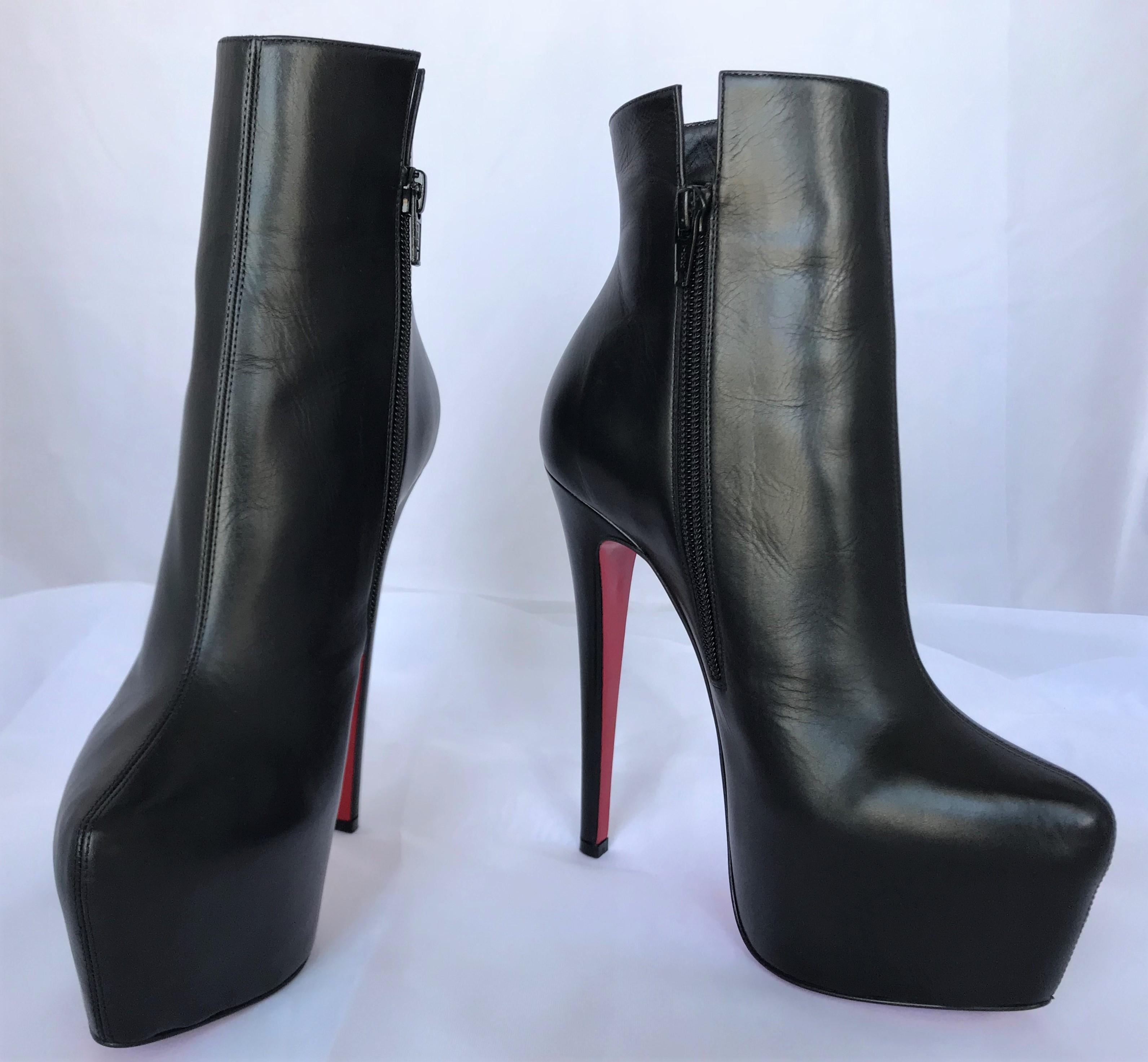 b0aeace0fa2f ... Christian Louboutin Black Ankle New 35.5 It It It Daffodile Leather  Platform High Heel Lady Red ...