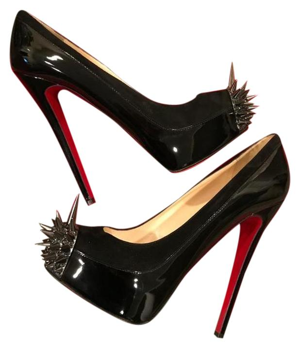 Christian Louboutin Black Asteroid Spikes Patent Leather Suede 39 Platform Heels Pumps Size US 9