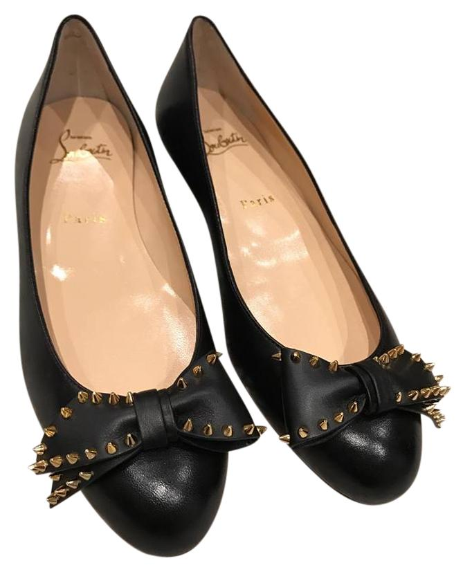 Christian Louboutin Black Ballalarina Leather Spike Ballet 37.5 Flats Size US 7.5 Regular (M, B)