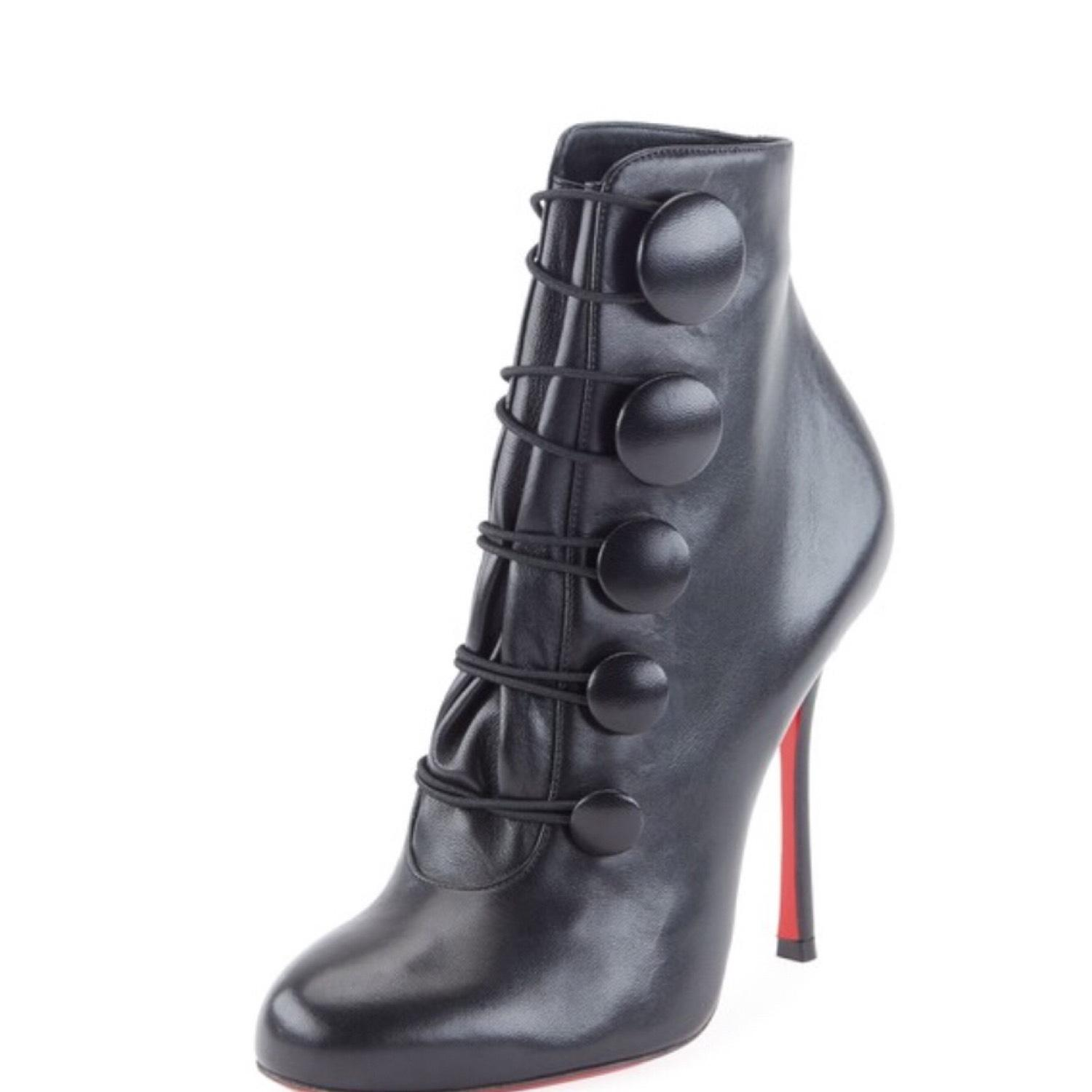 Christian Louboutin Black Booton Leather Red Sole Button Boots/Booties Size US 7.5 Regular (M, B)